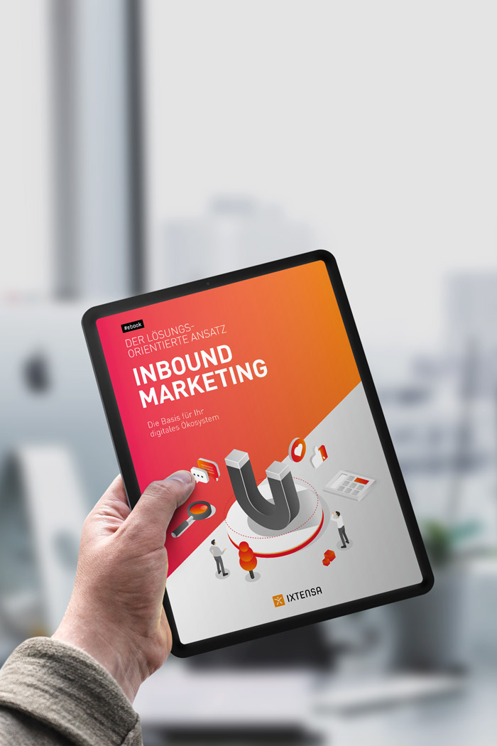 e-Book Inbound Marketing Titelseite auf Tablet